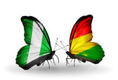 Butterflies with Nigeria and Bolivia flags on wings — Stock fotografie