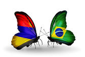 Butterflies with Armenia and  Brazil flags on wings — Stock Photo