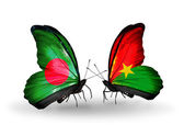 Butterflies with Bangladesh and Burkina Faso flags on wings — Foto de Stock