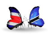 Butterflies with Costa Rica and Botswana flags on wings — Foto de Stock