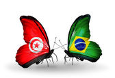 Butterflies with Tunisia and Brazil flags on wings — Foto de Stock