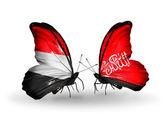 Butterflies with Yemen and Waziristan flags on wings — Foto de Stock