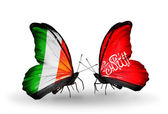 Butterflies with Ireland and Waziristan flags on wings — Foto de Stock
