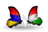 Butterflies with Armenia and  Hungary flags on wings — Zdjęcie stockowe