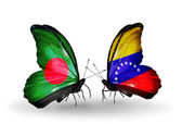 Butterflies with Bangladesh and Venezuela flags on wings — Стоковое фото