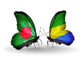 Butterflies with Bangladesh and Gabon flags on wings — Stock Photo