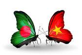 Farfalle con bangladesh e vietnam bandiere sulle ali — Foto Stock