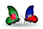 Butterflies with Bangladesh and Haiti flags on wings — Stock Photo