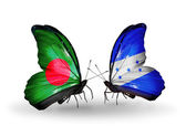 Butterflies with Bangladesh and Honduras flags on wings — Stock Photo