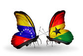 Butterflies with Venezuela and  Ghana flags on wings — Stock Photo