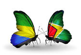 Butterflies with Gabon and  Guyana flags on wings — Стоковое фото