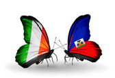 Butterflies with Ireland and Haiti flags on wings — Stock Photo