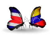 Butterflies with Costa Rica and Venezuela flags on wings — Stock Photo