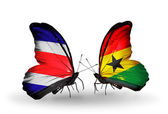 Butterflies with Costa Rica and Ghana flags on wings — Stock Photo