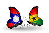 Butterflies with Laos and Ghana flags on wings — Zdjęcie stockowe