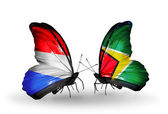 Butterflies with Luxembourg and Guyana flags on wings — Stock Photo
