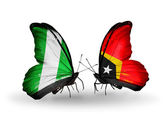 Butterflies with Nigeria and East Timor flags on wings — Stock Photo