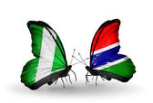 Butterflies with Nigeria and Gambia flags on wings — Zdjęcie stockowe
