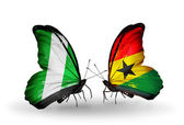 Butterflies with Nigeria and Ghana flags on wings — Stock Photo