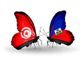 Butterflies with Tunisia and Haiti flags on wings — Stock Photo