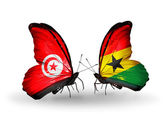 Butterflies with Tunisia and Ghana flags on wings — Stock Photo