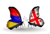 Butterflies with Armenia and  Georgia flags on wings — Stock Photo