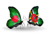 Butterflies with Bangladesh and Dominica flags on wings — Stock Photo