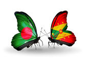 Butterflies with Bangladesh and Grenada flags on wings — Stock Photo