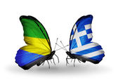 Butterflies with Gabon and Greece flags on wings — Zdjęcie stockowe