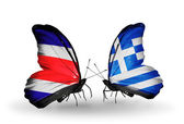 Butterflies with Costa Rica and Greece flags on wings — Zdjęcie stockowe