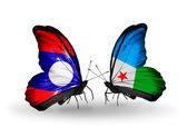 Butterflies with Laos and Djibouti flags on wings — Zdjęcie stockowe