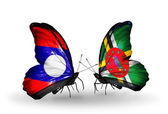 Butterflies with Laos and Dominica flags on wings — Zdjęcie stockowe