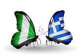 бабочки с нигерией и греция флаги на крыльях — Стоковое фото