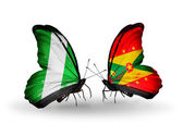 Butterflies with Nigeria and Grenada flags on wings — Stock Photo