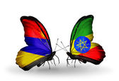 Butterflies with Armenia and  Ethiopia flags on wings — Stock Photo