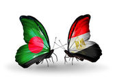 Butterflies with Bangladesh and Egypt flags on wings — Stock fotografie