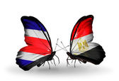 Butterflies with Costa Rica and Egypt flags on wings — Zdjęcie stockowe