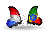 Butterflies with Luxembourg and Ethiopia flags on wings — Стоковое фото