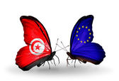 Butterflies with Tunisia and European Union flags on wings — Stock Photo