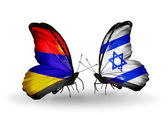 Butterflies with Armenia and  Israel flags on wings — Photo