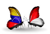Butterflies with Venezuela and Monaco, Indonesia flags on wings — Photo