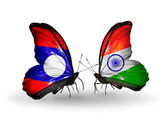 Butterflies with Laos and  India flags on wings — Stock Photo