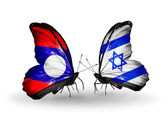 Butterflies with Laos and Israel flags on wings — Stockfoto