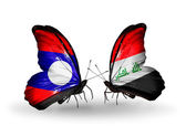 Butterflies with Laos and Iraq flags on wings — Stock Photo