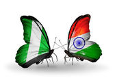 Butterflies with Nigeria and   India flags on wings — Photo
