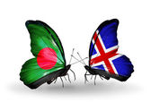Butterflies with Bangladesh and Iceland flags on wings — Stock Photo