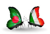 Butterflies with Bangladesh and Ireland flags on wings — Photo