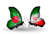 Butterflies with Bangladesh and  Iran flags on wings — Stock fotografie