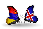 Butterflies with Armenia and  Iceland flags on wings — Stock Photo