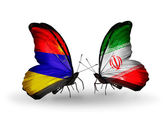 Butterflies with Armenia and  Iran flags on wings — Stock Photo